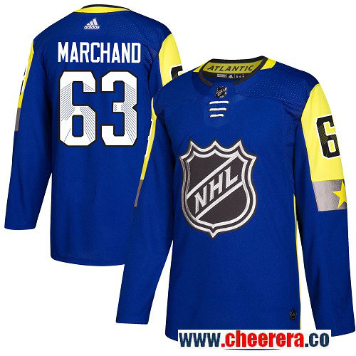 #63 Brad Marchand Royal Blue Adidas NHL Men's Jersey Boston Bruins 2018 All-Star Atlantic Division