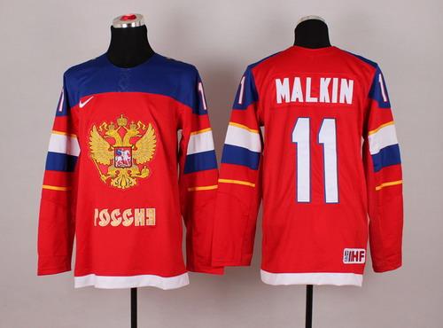 2014 Olympics Russia #11 Evgeni Malkin Red Jersey