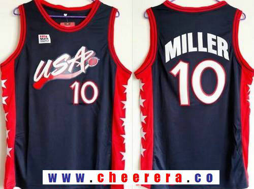 1996 Olympics Team USA Men's #10 Reggie Miller Navy Blue Stitched Basketball Swingman Jersey
