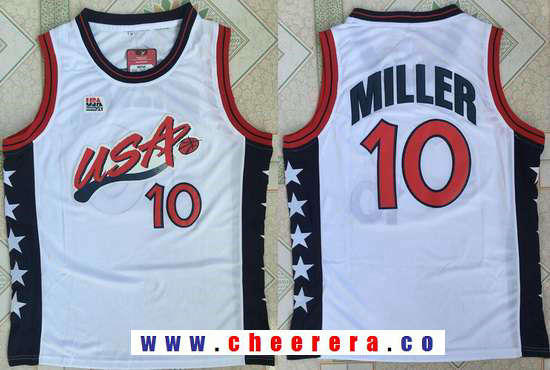 1996 Olympics Team USA Men's #10 Reggie Miller White Retro Stitched Basketball Swingman Jersey