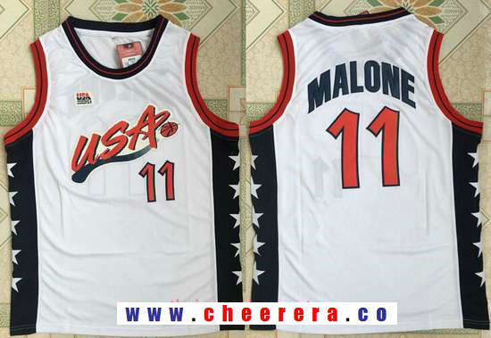 1996 Olympics Team USA Men's #11 Karl Malone White Retro Stitched Basketball Swingman Jersey
