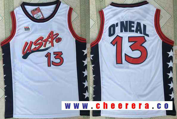 1996 Olympics Team USA Men's #13 Shaquille O'Neal White Retro Stitched Basketball Swingman Jersey