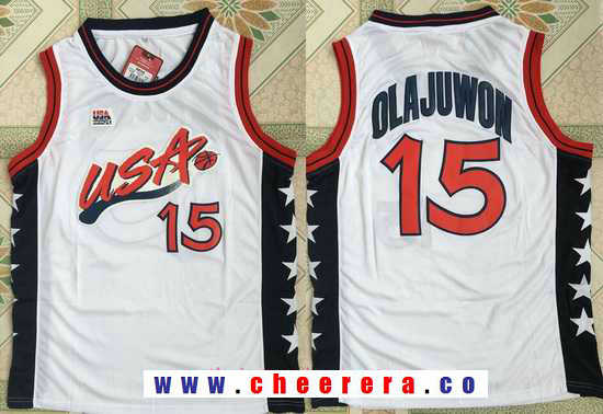 1996 Olympics Team USA Men's #15 Hakeem Olajuwon White Retro Stitched Basketball Swingman Jersey
