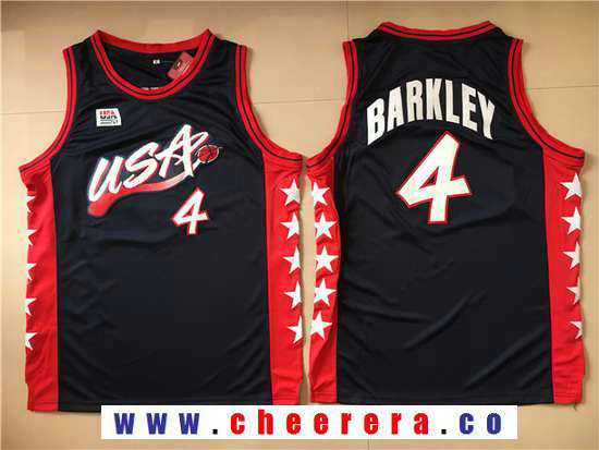 1996 Olympics Team USA Men's #4 Charles Barkley Navy Blue Stitched Basketball Swingman Jersey