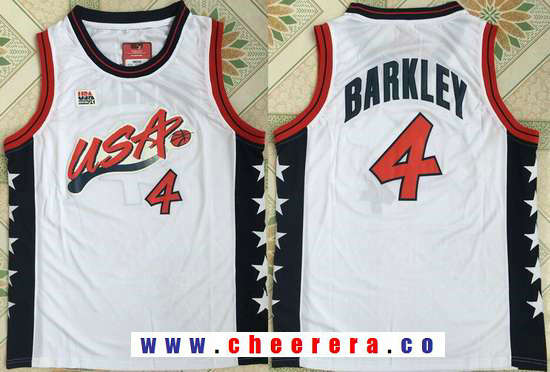 1996 Olympics Team USA Men's #4 Charles Barkley White Retro Stitched Basketball Swingman Jersey