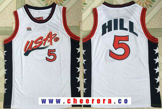 1996 Olympics Team USA Men's #5 Grant Hill White Retro Stitched Basketball Swingman Jersey