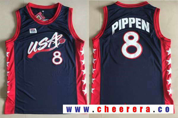 1996 Olympics Team USA Men's #8 Scottie Pippen Navy Blue Retro Stitched Basketball Swingman Jersey