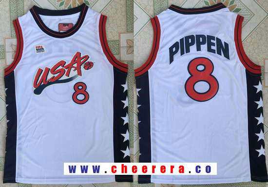 1996 Olympics Team USA Men's #8 Scottie Pippen White Retro Stitched Basketball Swingman Jersey