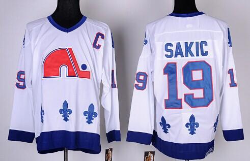 Quebec Nordiques #19 Joe Sakic White Throwback CCM Jersey