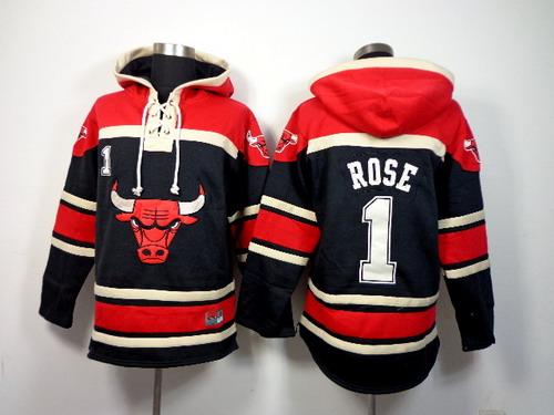 Chicago Bulls #1 Derrick Rose Black Hoodie