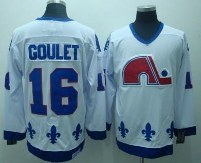 Quebec Nordiques #16 Michel Goulet White Throwback CCM Jersey