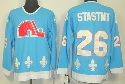 Quebec Nordiques #26 Peter Stastny Light Blue Throwback CCM Jersey