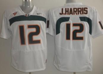 Miami Hurricanes #12  Jacory Harris White Jersey