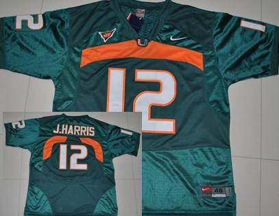 Miami Hurricanes #12 Jacory Harris Green Jersey