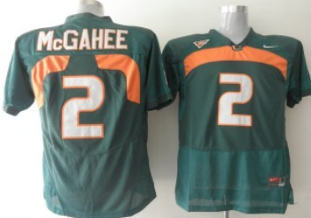 Miami Hurricanes #2 McGahee Green Jersey