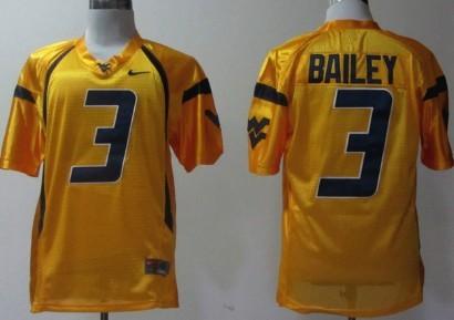 West Virginia Mountaineers #3 Stedman Bailey Yellow Jersey
