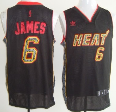 Miami Heat #6 LeBron James Revolution 30 Authentic All Black With Orange Jersey
