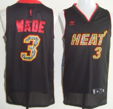 Miami Heat #3 Dwyane Wade Revolution 30 Authentic All Black With Orange Jersey