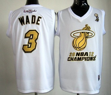 Miami Heat #3 Dwyane Wade 2012 NBA Finals Champions White With Gold Jersey