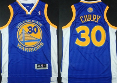 Golden State Warriors #30 Stephen Curry Revolution 30 Authentic Blue Jersey
