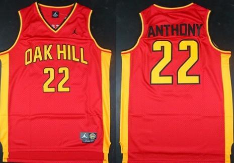 Oak Hill Academy #22 Carmelo Anthony Red Swingman Jersey