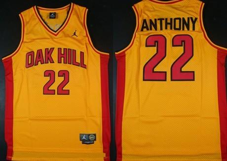 Oak Hill Academy #22 Carmelo Anthony Yellow Swingman Jersey
