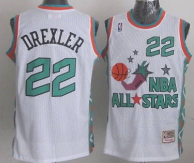 NBA 1996 All-Star #22 Clyde Drexler White Swingman Throwback Jersey