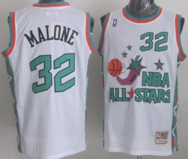 NBA 1996 All-Star #32 Karl Malone White Swingman Throwback Jersey