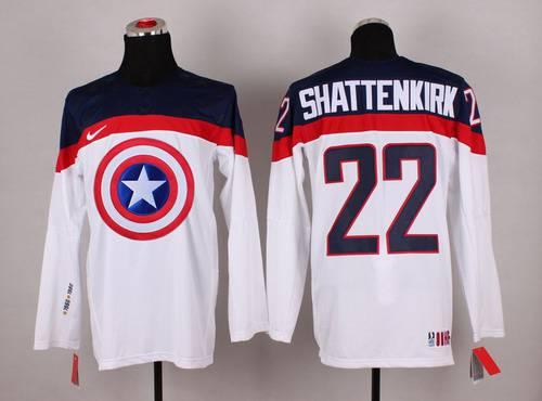 2015 Men's Team USA #22 Kevin Shattenkirk Captain America Fashion White Jersey