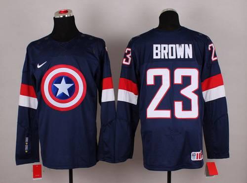 2015 Men's Team USA #23 Dustin Brown Captain America Fashion Navy Blue Jersey
