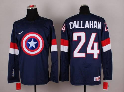 2015 Men's Team USA #24 Ryan Callahan Captain America Fashion Navy Blue Jersey