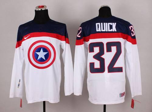 2015 Men's Team USA #32 Jonathan Quick Captain America Fashion White Jersey