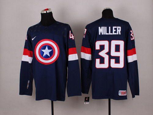 2015 Men's Team USA #39 Ryan Miller Captain America Fashion Navy Blue Jersey