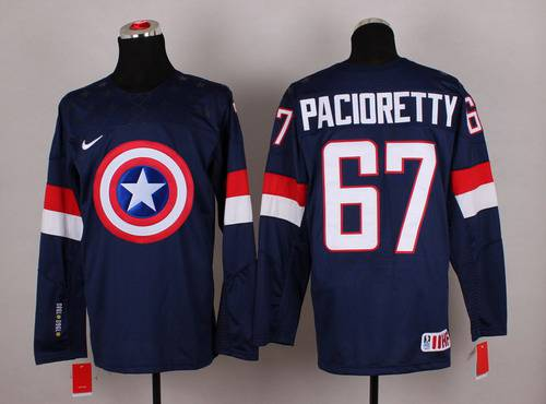 2015 Men's Team USA #67 Max Pacioretty Captain America Fashion Navy Blue Jersey