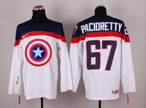 2015 Men's Team USA #67 Max Pacioretty Captain America Fashion White Jersey