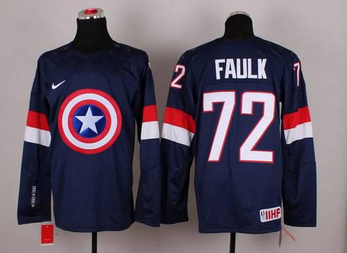 2015 Men's Team USA #72 Justin Faulk Captain America Fashion Navy Blue Jersey