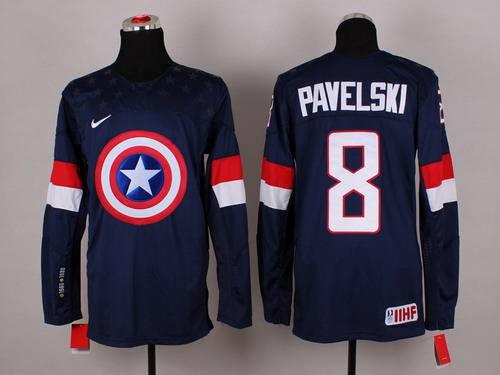 2015 Men's Team USA #8 Joe Pavelski Captain America Fashion Navy Blue Jersey