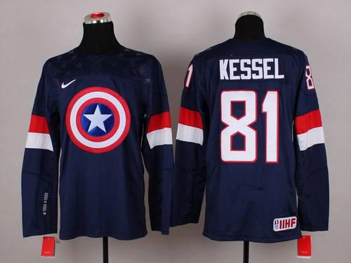 2015 Men's Team USA #81 Phil Kessel Captain America Fashion Navy Blue Jersey