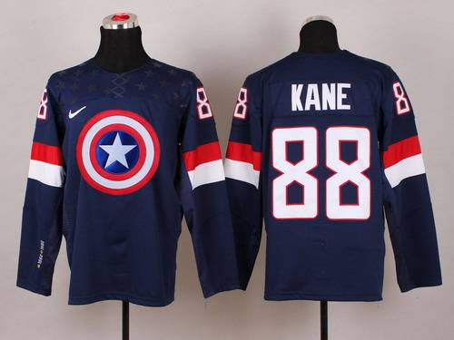 2015 Men's Team USA #88 Patrick Kane Captain America Fashion Navy Blue Jersey