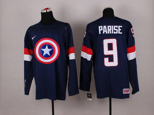 2015 Men's Team USA #9 Zach Parise Captain America Fashion Navy Blue Jersey