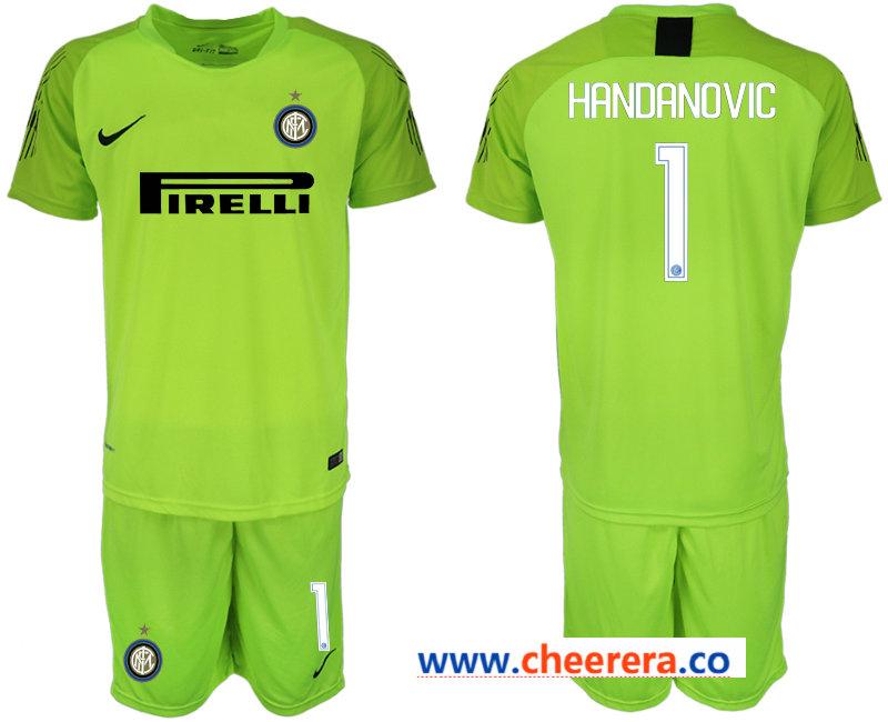 2018-19 Inter Milan 1 HANDANVIC Fluorescent Green Goalkeeper Soccer Jersey