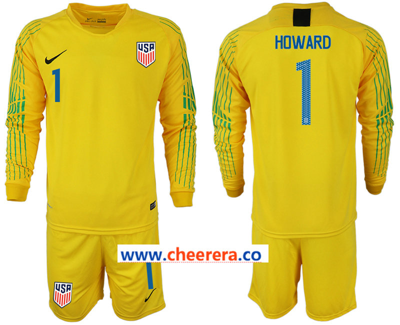 2018-19 USA 1 HOWARD Yellow Goalkeeper Long Sleeve Soccer Jersey