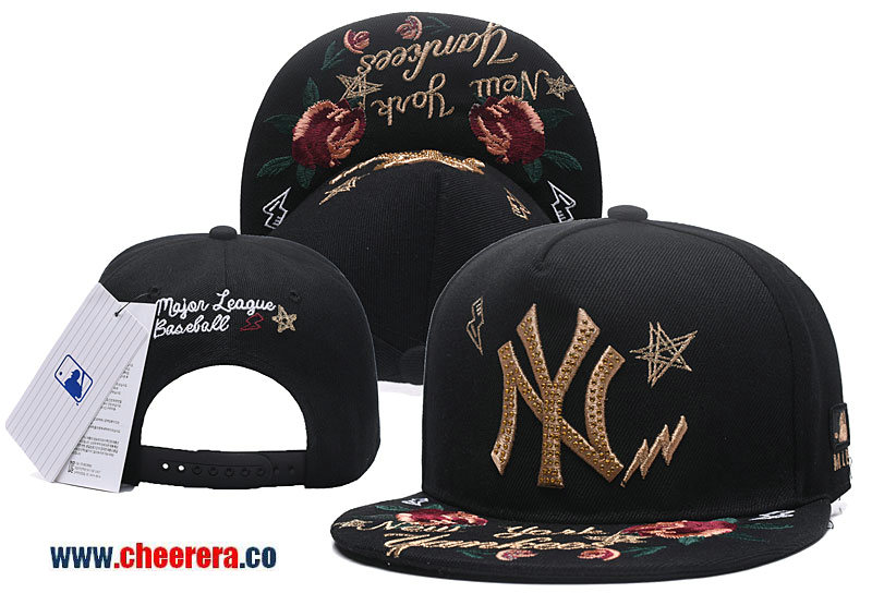 2018 New MLB New York Yankees Adjustable Snapback Hat Black with Flower