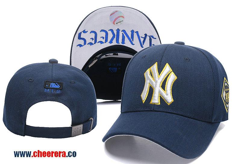 2018 New MLB New York Yankees Adjustable Snapback Hat Blue Gold
