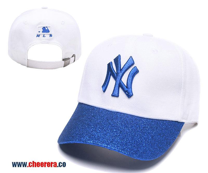 2018 New MLB New York Yankees Adjustable Snapback Hat White Blue