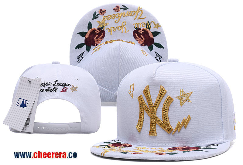 2018 New MLB New York Yankees Adjustable Snapback Hat White Gold with Flower