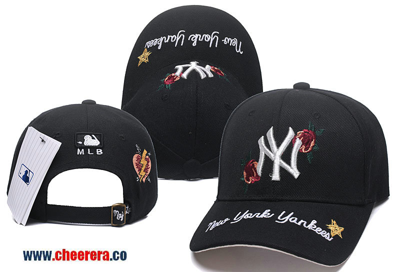 2018 New MLB New York Yankees Adjustable Snapback Hat in Black with Flower Stitches