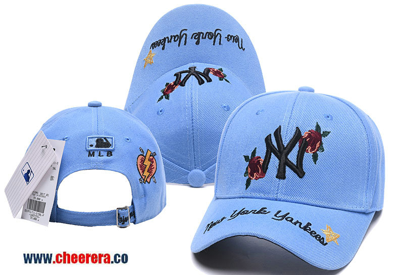 2018 New MLB New York Yankees Adjustable Snapback Hat in Blue with Flower Stitches