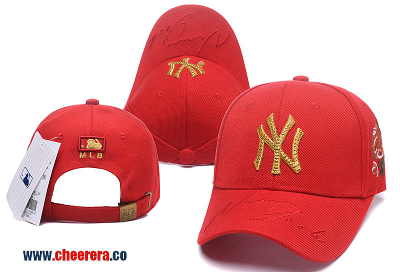 2018 New MLB New York Yankees Adjustable Snapback Hat in Red Gold