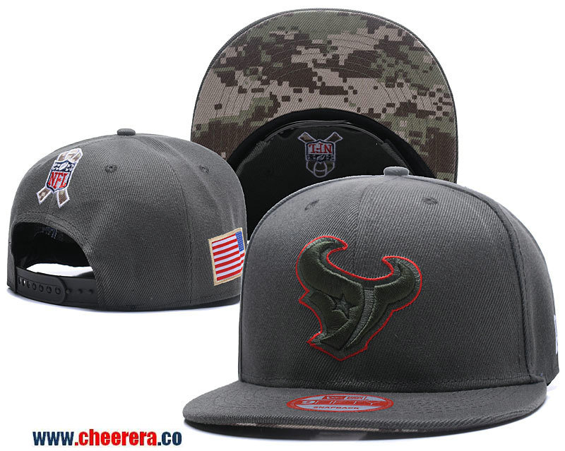 2018 New NFL Houston Texans Adjustable SnapBack Hat in Amy green with Camo